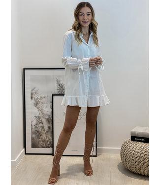 Bow layer dress - white