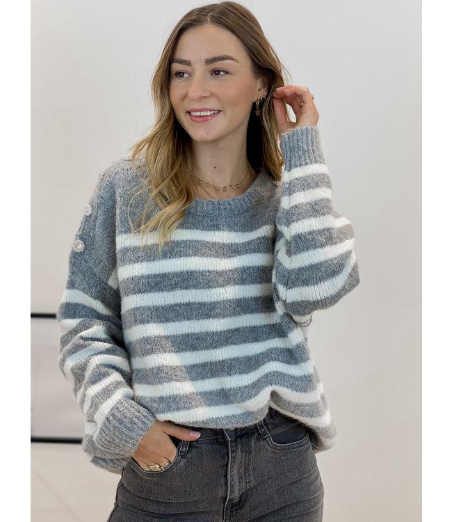 Pearl stripe sweater - grey