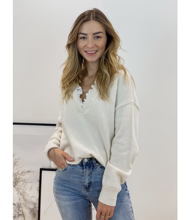 Chloé lace sweater - nude