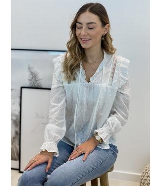 Cotton lace blouse - white