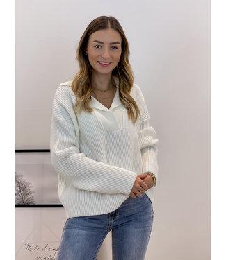 Polo ribble sweater - ecru