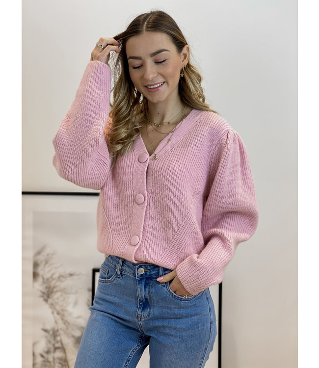 Textured button gilet - pink