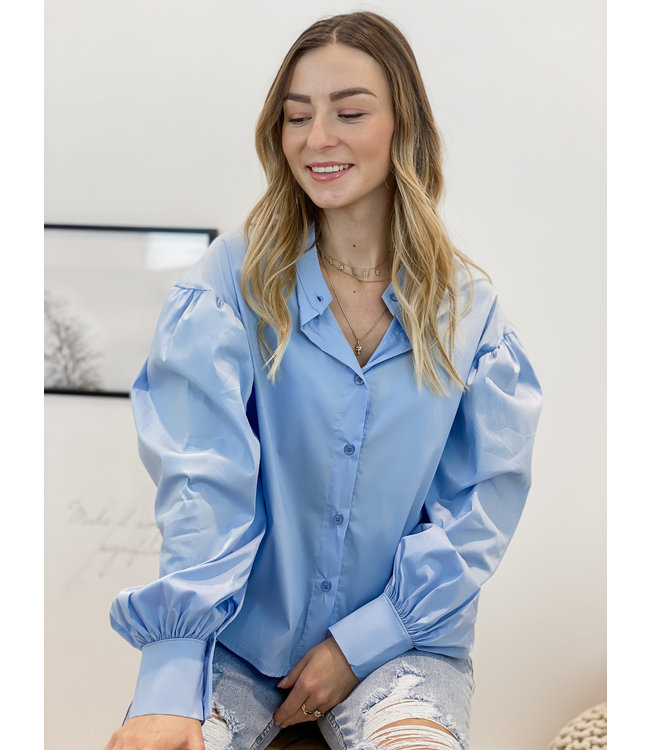 Mock blouse - sky blue