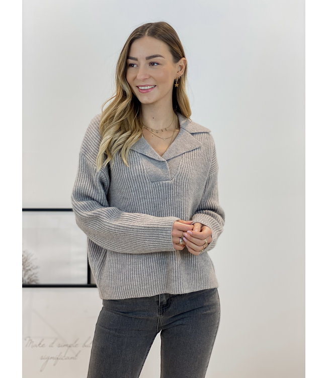 Polo ribble sweater - taupe