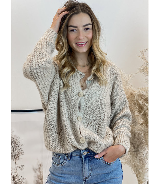 She's Milano x knitted cardigan almond
