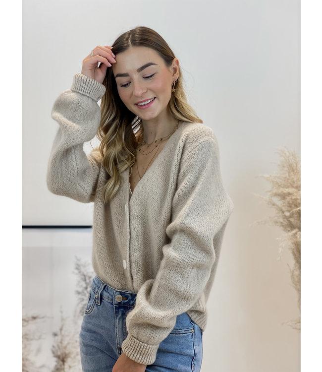 She's Milano x button cardigan almond