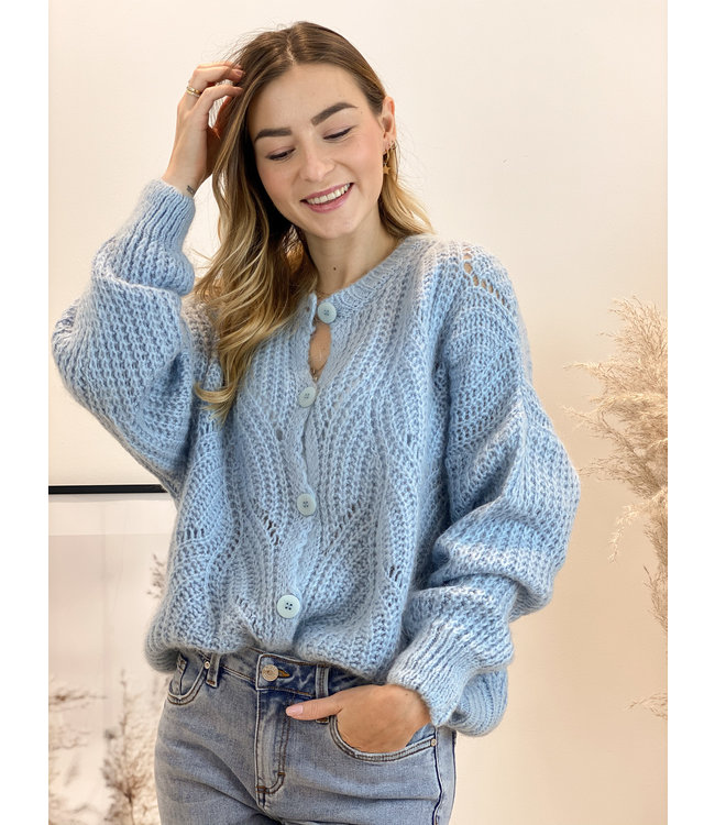 She's Milano x knitted cardigan sky blue