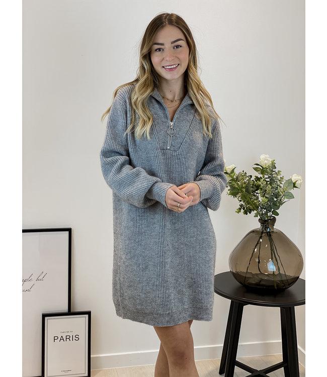 Zip sweater dress - grey
