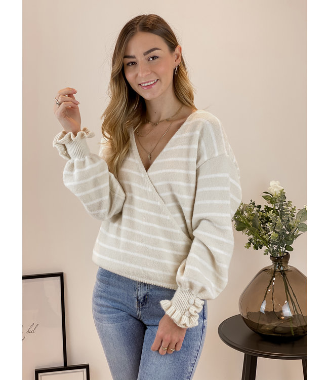 Cross over stripe sweater - nude