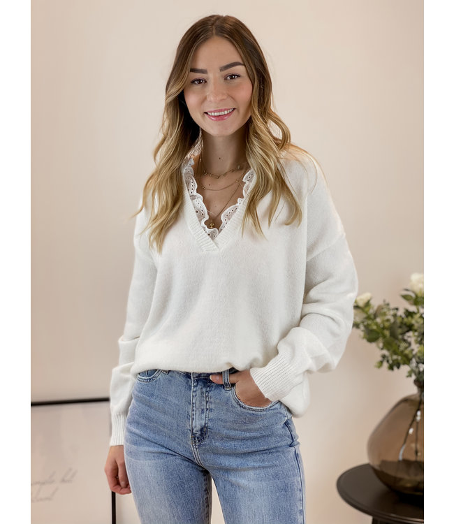 Chloé lace sweater - white