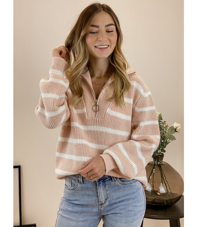 Stripe zip sweater - melon