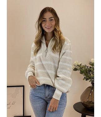 Stripe zip sweater - nude