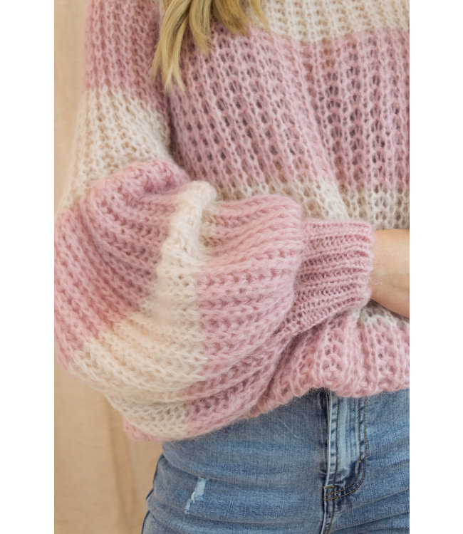 Knitted stripe sweater - rose