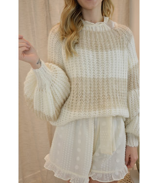 Knitted stripe sweater - beige