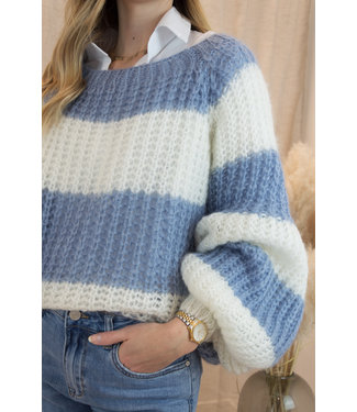 Knitted stripe sweater- blue
