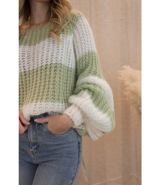 Knitted stripe sweater - spring green