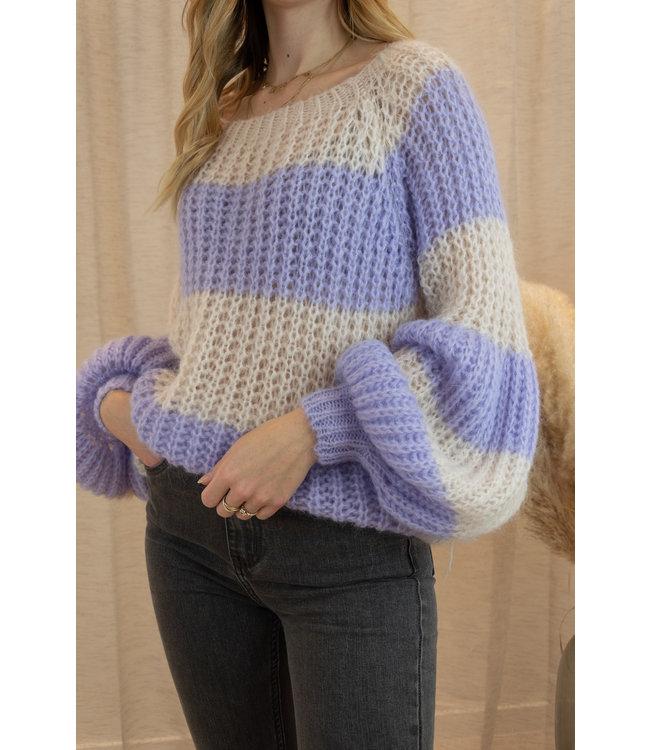 Knitted stripe sweater - purple