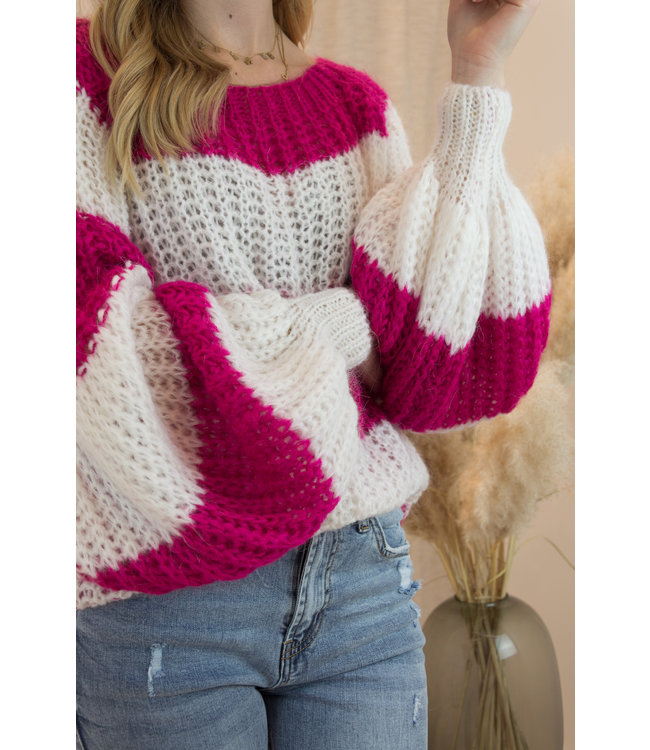 Knitted stripe sweater - magenta