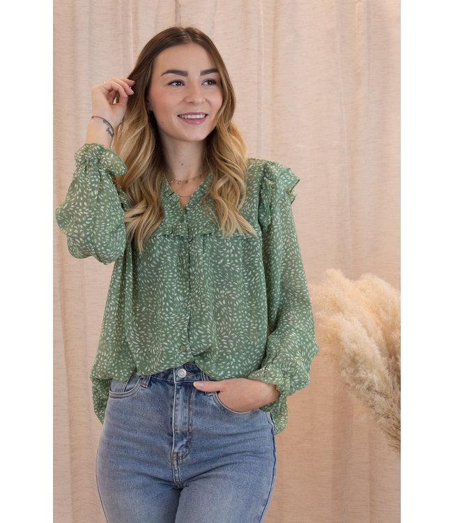 Leaves blouse - spring green