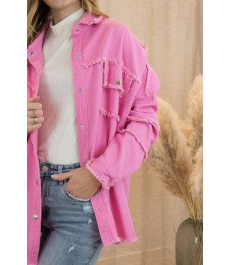 Fringle jacket - candy pink