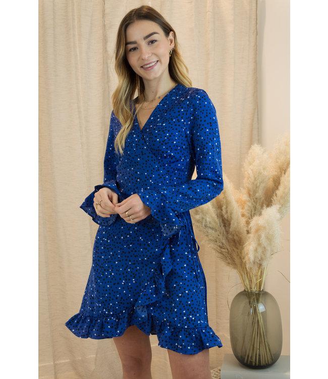 Cross me over heart dress  - kobalt blue