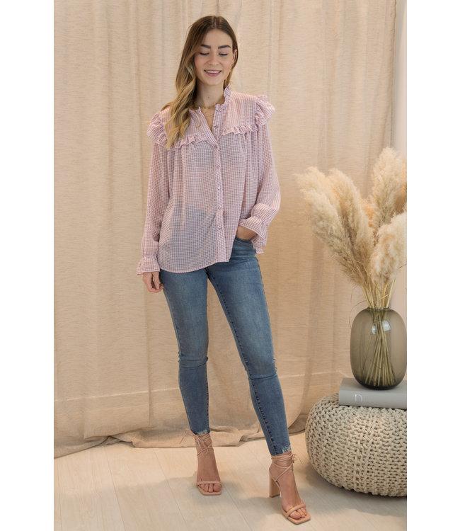 Carreaux blouse - pink