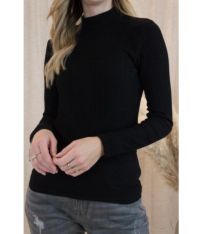 Basic ribble shirt - black