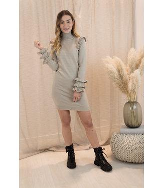 Flair shoulder dress - beige