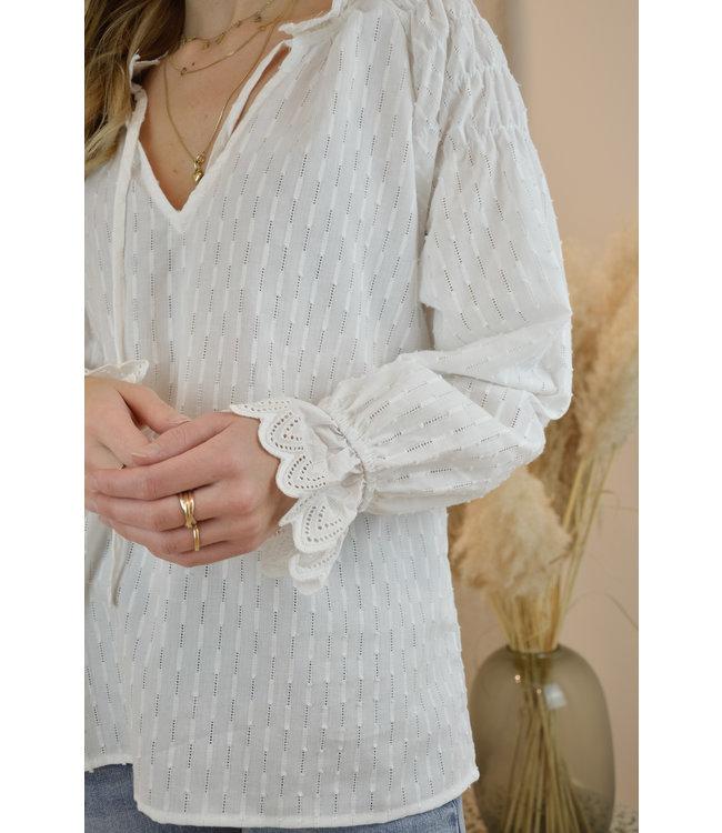 Mel lace blouse white