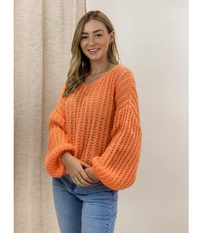 Knitted balloon sweater - orange