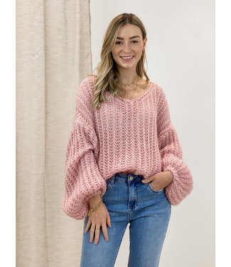 Knitted balloon sweater - rose