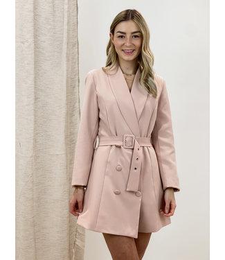 blazer belt dress - rose