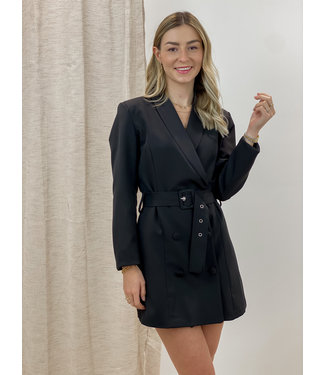 Blazer belt dress - black
