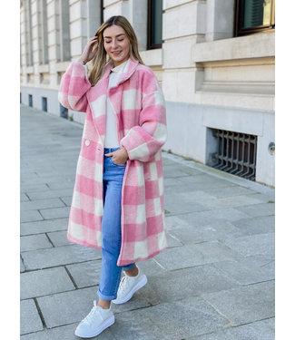 Carreaux MAXI coat - pink