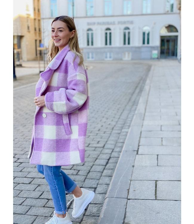 Carreaux MIDI coat - purple