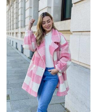 Carreaux MIDI coat - pink