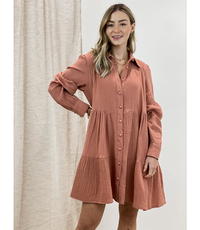 Soft dreamy dress - terracotta