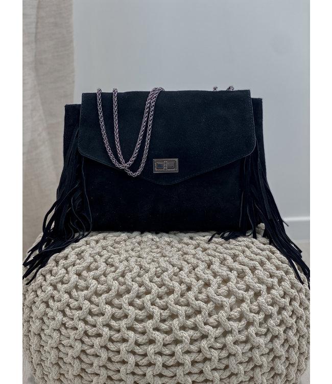 Suede fringes bag - black