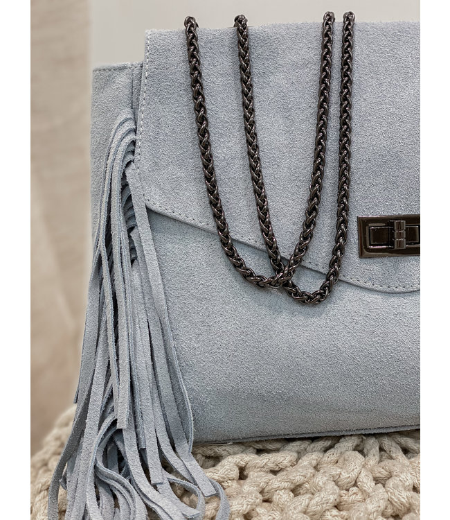 Suede fringes bag - blue