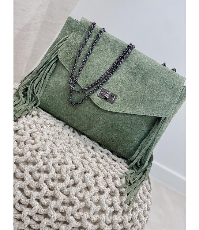 Suede fringes bag - green