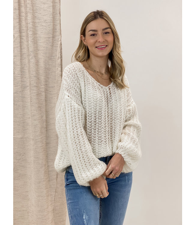 Knitted balloon sweater - white