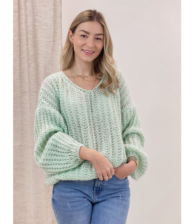 Knitted balloon sweater - spring green