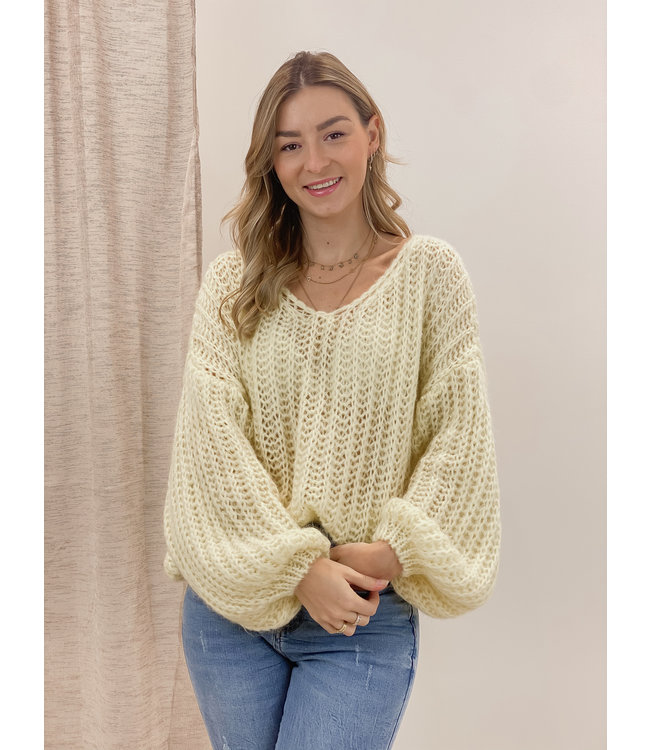 Knitted balloon sweater - yellow
