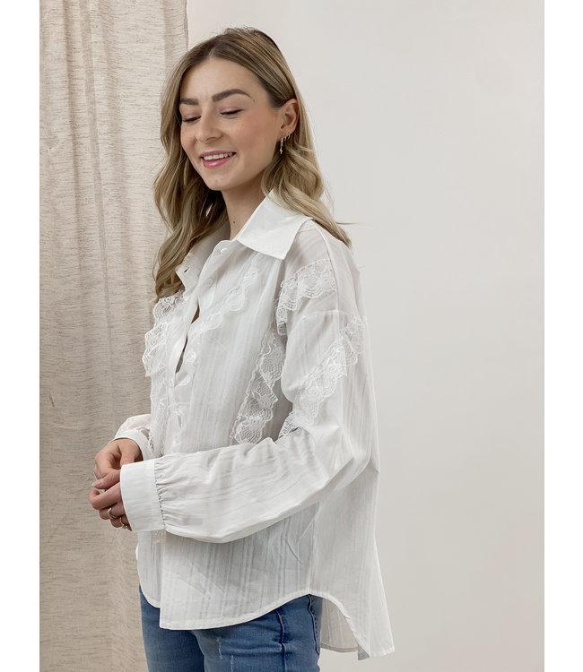 Lace detail blouse - white