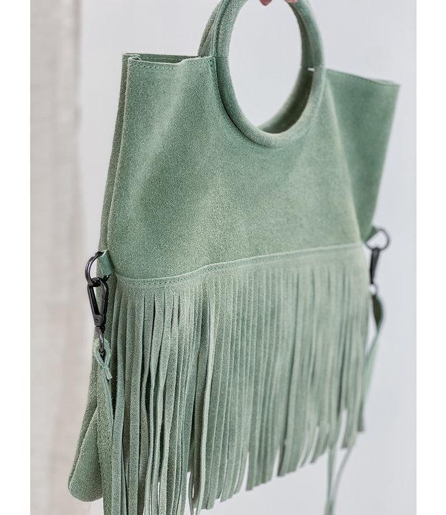 Luna fringes bag - green