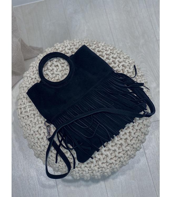 Luna fringes bag - black
