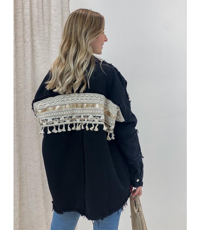 Fringle detail jacket - black