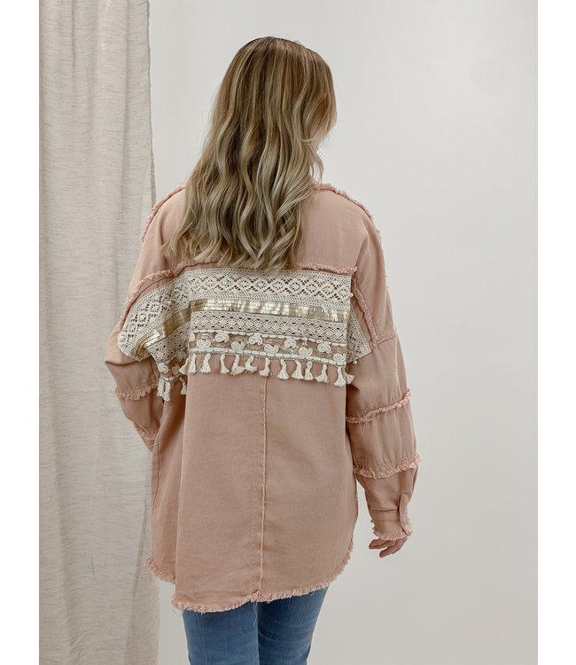 Fringle detail jacket - peach