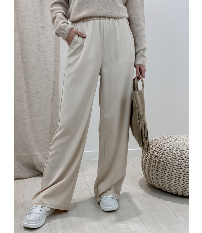 Silk stella trouser - nude