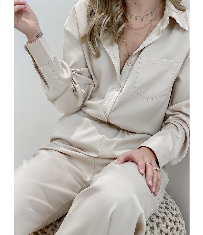 Silk stella blouse - nude